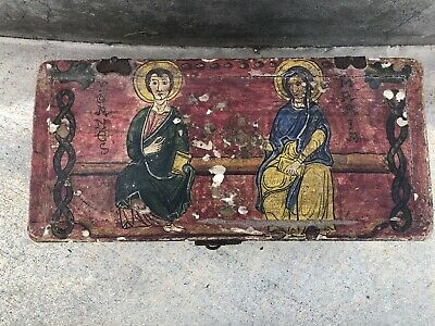 Antique Hand Painted Orthodox Religious Icon box Jesus Christ Holy Grail Mary