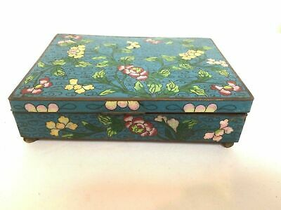 Antique Chinese Late Qing Early Republic Blue Cloisonne Box w/ Floral Decoration