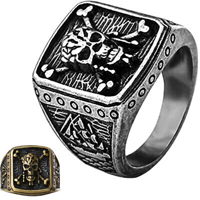Pirates Of The Caribbean Ring Captain Jack Sparrow Silver Bronze Skull Size 8-11