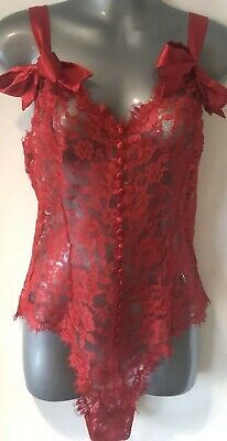 Victoria's Secret Vintage Red All Lace Sheer Buttoned Teddy Body Romper Medium