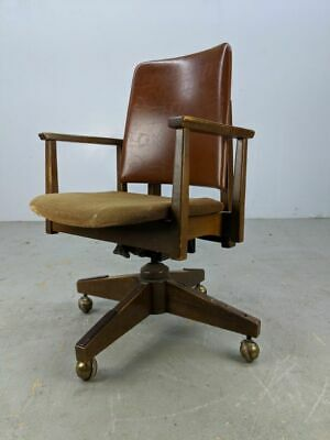 Mid Century Office Arm Propeller Base Chair Danish Modern Vintage Boling Brown