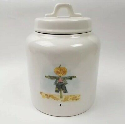 Rae Dunn Scarecrow Fall Canister Ceramic Thanksgiving Halloween 1 Pumpkin Ivory