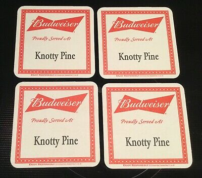 4 Unique Budweiser Knotty Pine Bar Beer Advertising Coasters Bow Tie Logo