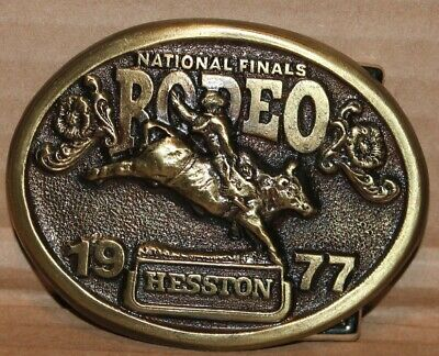 1977 Hesston National Finals Rodeo Brass Color Belt Buckle Mint Condition