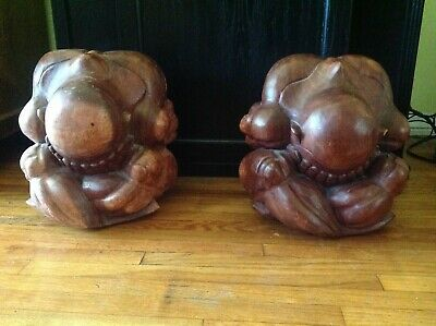 """Vintage Hand Carved Pair of Wood Weeping Yogi Buddha  Monk Large 12"""" Tall"""