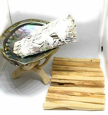 """Palo Santo Pack of 10 +Sage (2) + Abalone Shell 5-6""""L,Wooden Tripod Stand 6"""""""