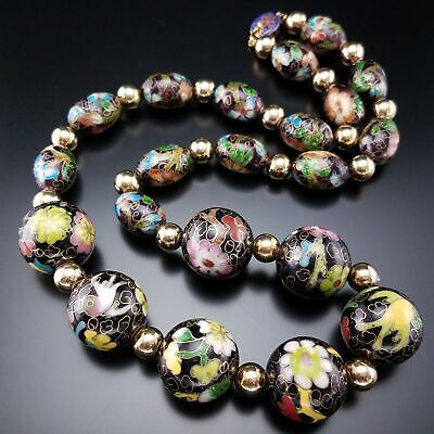 Vintage Cloisonne Large Enamel Bead Necklace Estate Birds Chinese Export Jewelry