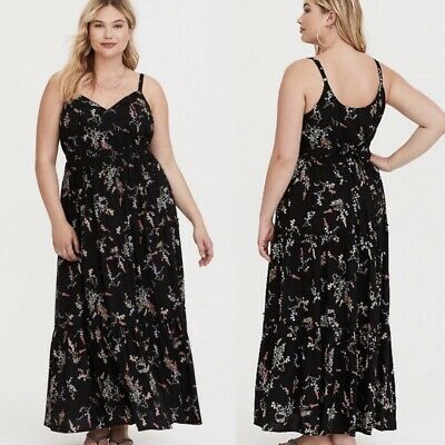 4cabe4cd4a61 TORRID BLACK FLORAL Tiered Challis Maxi Dress 4X 26 #88434 - $44.34 ...
