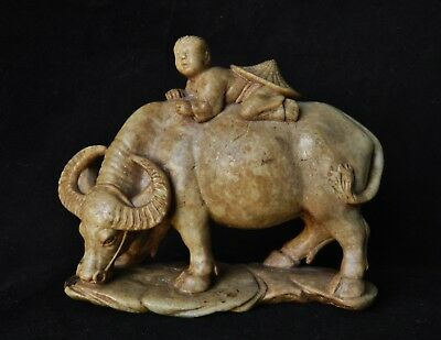 Antique Chinese Carving Hardstone Soapstone Jade Water Buffalo Ox Statue