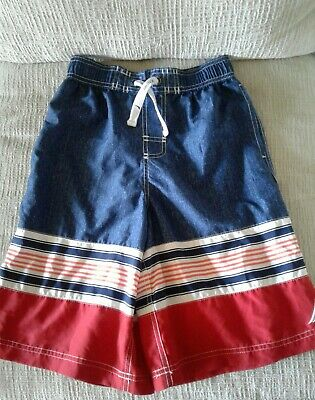 780adccd114c9 Nautica Boys Swim Trunks Board Shorts Size Large 14 16 Mesh Lined Red Wht  Blue