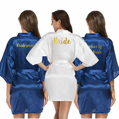 Personalised Satin Wedding Bride Bath Robe Bridesmaid Team Mother Dressing Gown
