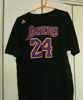 85673ea8a85 Los Angeles Lakers Kobe Bryant #24 Adidas Jersey Style Black T-Shirt Sz XL