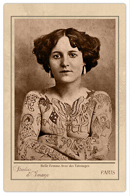 TATTOOED LADY FRANCE ca1907 Vintage Photograph Cabinet Card RP