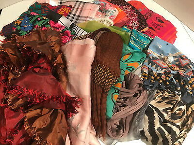 Assorted Lot Of 22 Ladies Fashion Scarves - Beautiful Variety!