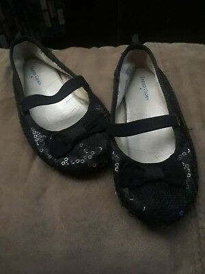 4073f6c7b928 Faded Glory Black Sequin Toddler Girl Shoes Mary Jane Ballet Flats 6 Bow  Slip On