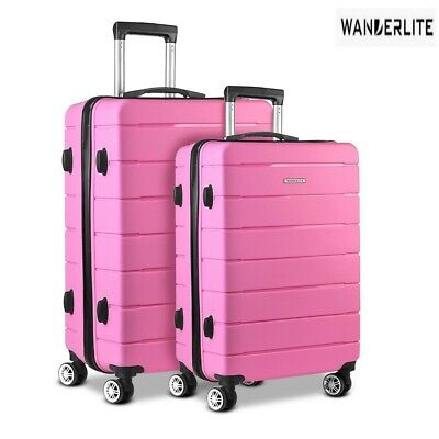 Wanderlite 2PC PP Luggage Sets Suitcases TSA Travel Lightweight Hard Case Pink