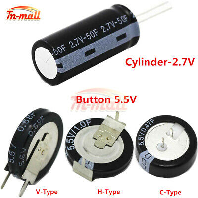 2.7/5.5V 0.22F-50F Super Farad Capacitor 1F 4F 50F C H V Type Button/Cylindrical