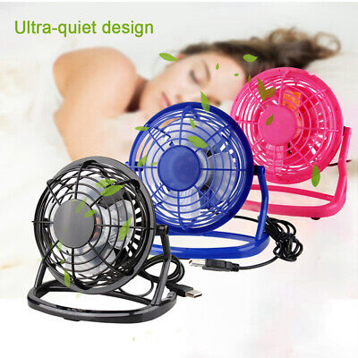 4 inch Portable Rechargeable LED Fan Desk air Cooler Mini Operated USB USA Fast