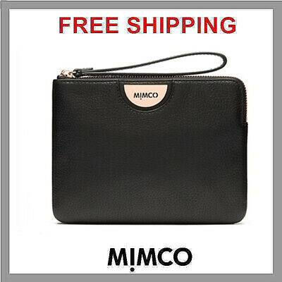 AUTHENTIC Mimco Echo Medium Pouch BLACK Rose Gold BNWT Clutch Wallet RRP$99.95
