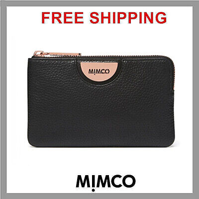 GENUINE Mimco BLACK Rose Gold ECHO S POUCH Leather Small Wallet Fits iPhone New