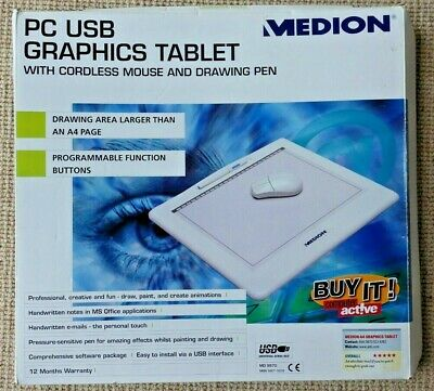 MEDION PC USB GRAPHICS TABLET WITH DRAWING PEN BOXED (No mouse)