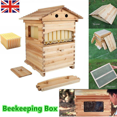 Double Beehive Super Beekeeping Brood House Box &7 Auto Honey Bee Hive Frames UK