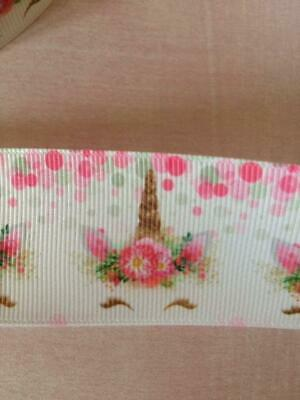 """Unicorn Design Grosgrain Ribbon. 38mm 1.5"""" Hair Bows and other Crafts."""