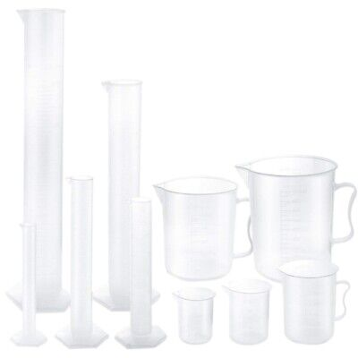 3X(Plastic Graduated Cylinders and Plastic Beakers,5pcs Plastic Graduated C O8X9