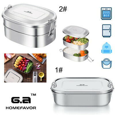 G.A Stainless Steel 1/2Tier Bento Lunch Box Food Container with Adjustable Clips