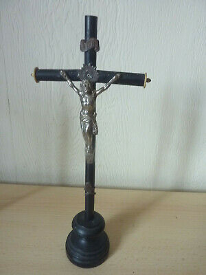 """Beautiful wooden German crucifix in black from the early 1900's Long 12.5"""""""