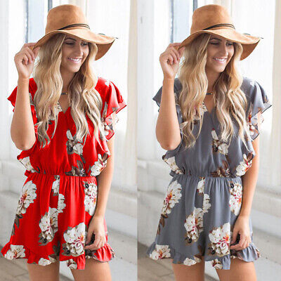 Womens Holiday Floral Romper Mini Playsuit Ladies Summer Beach Shorts Jumpsuit