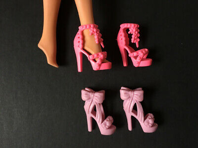 2 pairs pink platform heel shoes elaborate fit Barbie doll accessory ShimmyShim