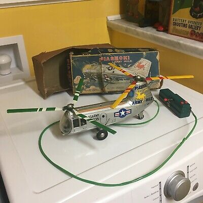 Vintage Battery Operated, Tin Alps Helicopter W/Tethered Remote Control & Box!!