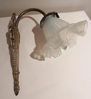 DEALER-RITA Antique wall sconce bronze brass glass shade