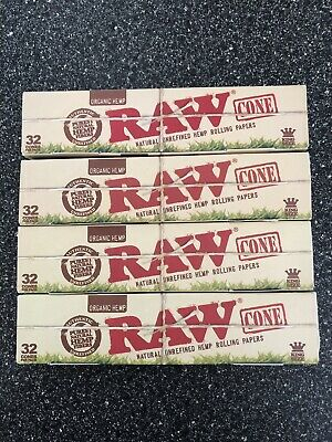 (4) Bulk Pack of 32 RAW King Size Classic Pre-Rolled Cones~New In Box 128 Total