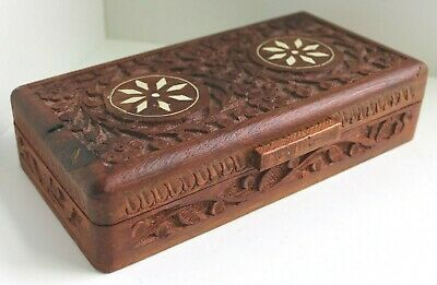 Vintage Carved Wooden Box / Jewellery Trinket Antique Chest I& Nlaid Top / 22