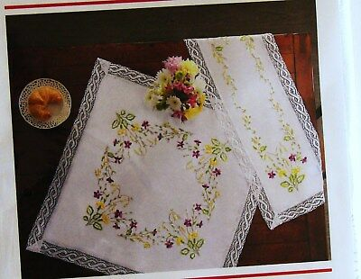 """NEW DUFTIN  """"SPRING FLOWERS"""" Table Topper Stamped Embroidery Kit &Floss"""