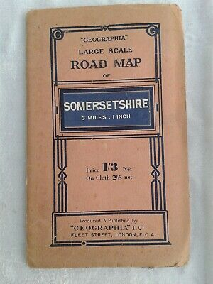 Geographia Large Scale Road Map of SOMERSETSHIRE. 3 Miles:1 Inch. Paper
