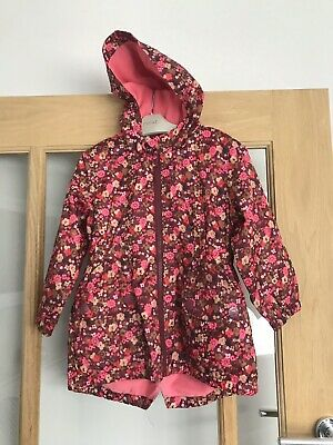 Next Girls Berry / Ditsy Lined Summer Jacket With Hood 3-4 Years