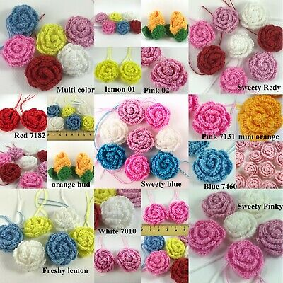 Crochet Flower Rose Hand Made For Decorate girl clothes dolls Knitting pink