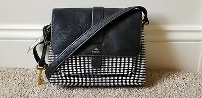 ed8db44d7446e New Fossil Kinley Leather & Fabric Small Black/White Crossbody Handbag Reg  $108
