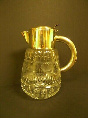 Vintage German Clear Cut Crystal & Silver Plate Pitcher D.R.G.M