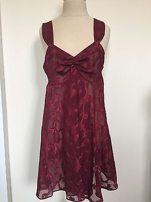 VICTORIAS SECRET Vtg Gold Label Sz Small Chemise Slip Dress Babydoll Burgundy