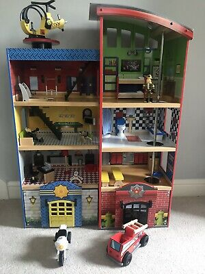 Kidkraft Everyday Heroes Wooden Fire Station And Police Station Dolls House