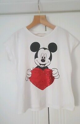 Mango Girls Mickey Mouse top with reversible sequin heart age 6 approx