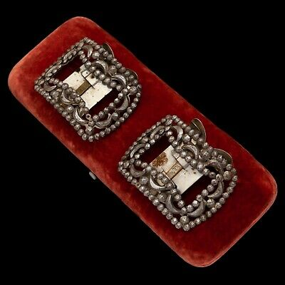 Antique Vintage Victorian Berlin Iron Cut Steel French Geometric Shoe Buckles