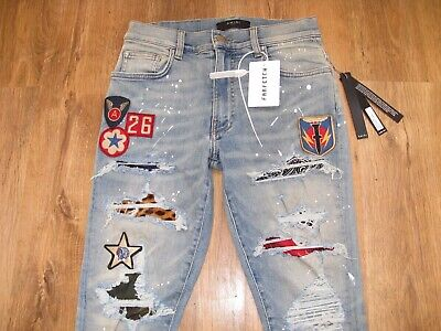official supplier really cheap half price AMIRI ART PATCH Bandana Stretch Distressed Jeans Size 31 ...