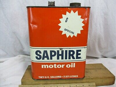 Vintage Gulf Saphire 2 Gallon Motor Oil Metal Can, Gas, Fuel,