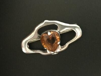 Art Nouveau C1890's Charles Horner Signed Silver Brooch with Heart Shape Citrine