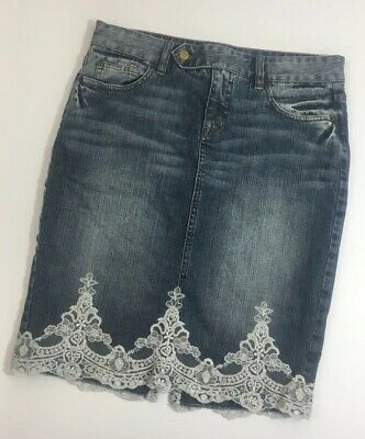 8e0cf013db The Limited Denim Jean Pencil Skirt Shimmer Lace Trim Modest Dressy Size 8